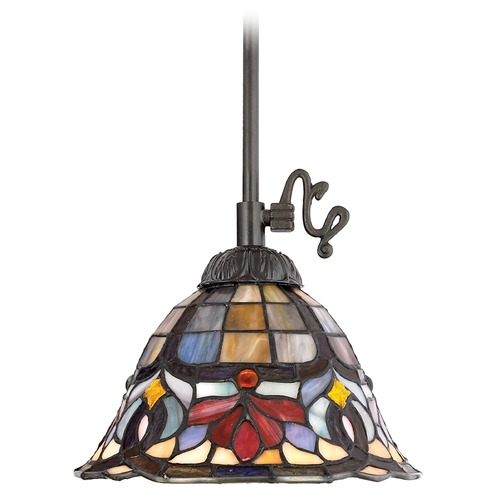 Quoizel Lighting Mini-Pendant Light with Multi-Color Glass TF1536VB