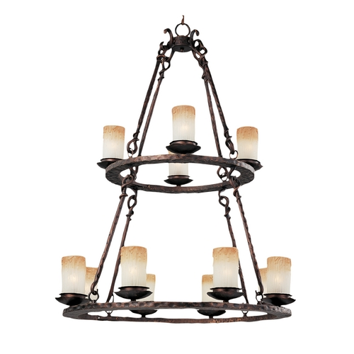 Maxim Lighting Chandelier with Beige / Cream Glass in Oil Rubbed Bronze Finish 10977WSOI