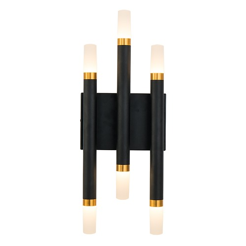 Kuzco Lighting Kuzco Lighting Draven Black / Gold Brushed LED Sconce WS19707-BK