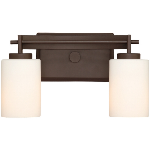 Quoizel Lighting Modern Bathroom Light with White Glass in Western Bronze Finish TY8602WT