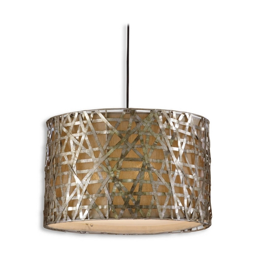 Uttermost Lighting Drum Pendant Light with Beige / Cream Shade in Silver Leaf Finish 21108