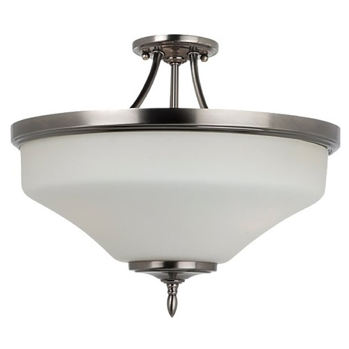 Sea Gull Lighting Semi-Flushmount Light with White Glass in Antique Brushed Nickel Finish 77180-965