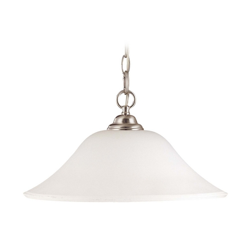 Nuvo Lighting Pendant Light with White Glass in Brushed Nickel Finish 60/1909