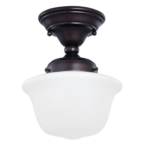 Design Classics Lighting 8-Inch Bronze Finish Schoolhouse Semi-Flushmount Ceiling Light FAS-220 / GD8