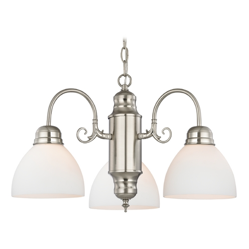 Design Classics Lighting Mini-Chandelier with White Glass in Satin Nickel Finish 708-09 GL1033-WH
