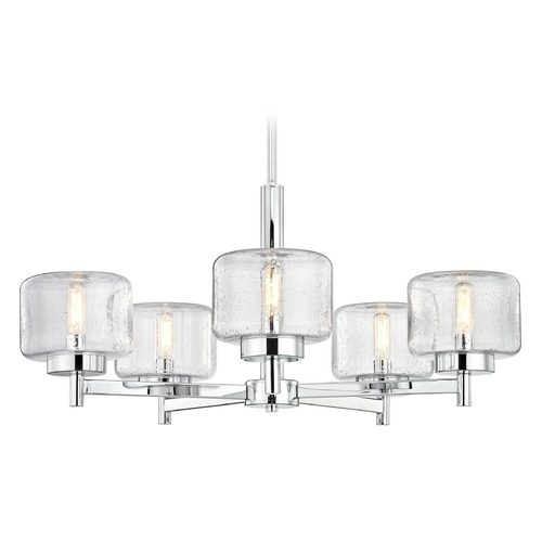 Design Classics Lighting Industrial Seeded Glass Chandelier Chrome 5-Lt 2975-26