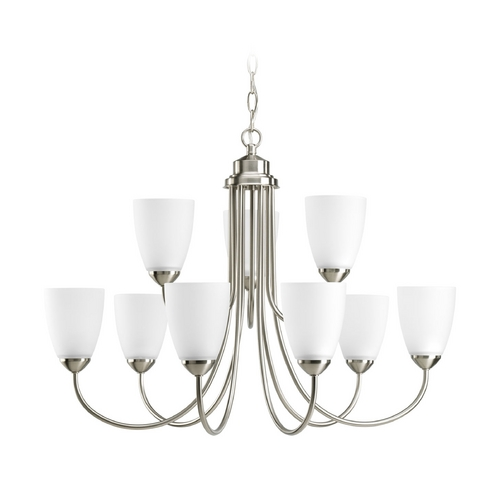 Progress Lighting Progress Chandelier with White Glass in Brushed Nickel Finish P4627-09