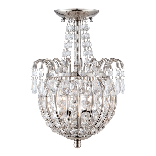 Quoizel Lighting Crystal Semi-Flushmount Light in Imperial Silver Finish JLE1709IS