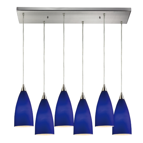 Elk Lighting Modern Multi-Light Pendant Light with Blue Glass and 6-Lights 2581/6RC