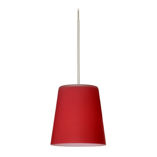 Besa Lighting Besa Lighting Canto Satin Nickel LED Mini-Pendant Light with Conical Shade 1XT-513131-LED-SN
