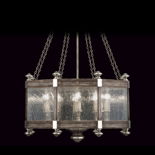 Fine Art Lamps Fine Art Lamps Villa Vista Hand Painted Driftwood with Silver Leafed Accents Pendant Light with Hexa 807440ST