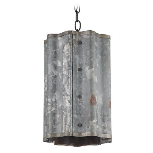 Currey and Company Lighting Currey and Company Lighting Frontier Old Iron / Galvanized Pendant Light with Cylindrical Shade 9739