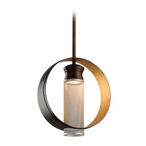 Troy Lighting Troy Lighting Insight Modern Bronze with Gold Leaf LED Pendant Light with Cylindrical Shade FL4897
