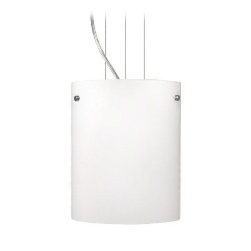 Besa Lighting Besa Lighting Tamburo Satin Nickel LED Mini-Pendant Light with Drum Shade 1KG-400607-LED-SN