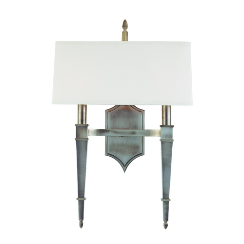 Hudson Valley Lighting Sconce Wall Light with White Shades in Historic Nickel Finish 742-HN