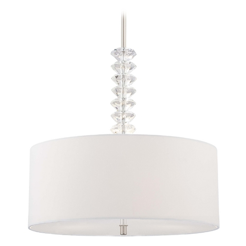 George Kovacs Lighting Modern Drum Pendant Light with White Shades in Polished Nickel Finish P399-613