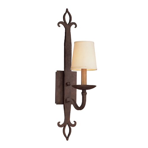 Troy Lighting Sconce Wall Light with Beige / Cream Shade in Burnt Sienna Finish B2711