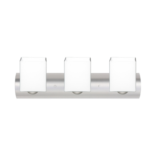 Besa Lighting Modern Bathroom Light with White Glass in Satin Nickel Finish 3WZ-449807-SN