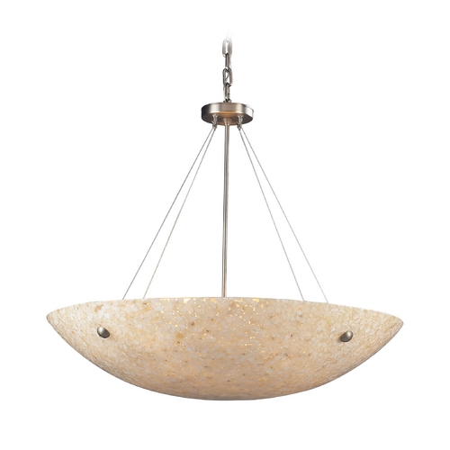 Elk Lighting Modern Pendant Light with Beige / Cream Glass in Satin Nickel Finish 8888/8