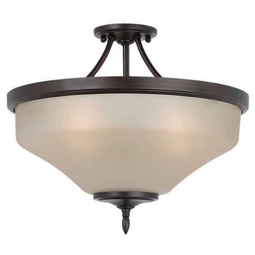 Sea Gull Lighting Semi-Flushmount Light with Beige / Cream Glass in Burnt Sienna Finish 77180BLE-710