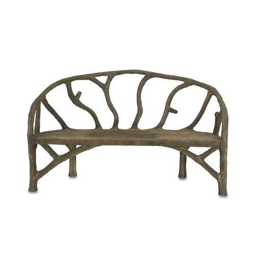 Currey and Company Lighting Bench in Faux Bois Finish 2700