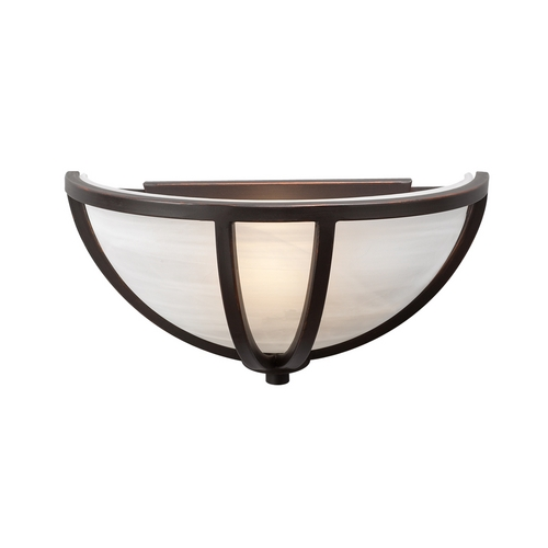PLC Lighting Modern Sconce Wall Light with White Glass in Oil Rubbed Bronze Finish 14860 ORB