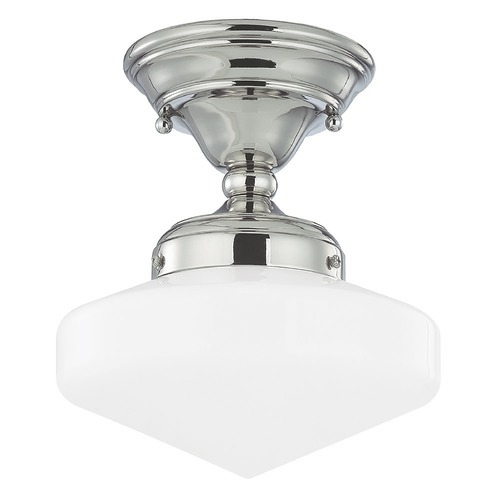 Design Classics Lighting 8-Inch Retro Schoolhouse Ceiling Light in Polished Nickel Finish FAS-15 / GE8