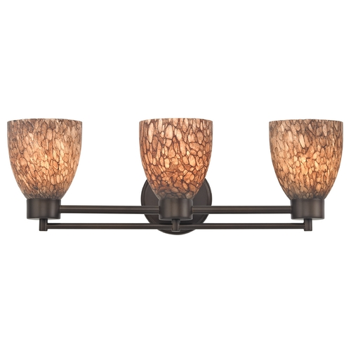 Design Classics Lighting Modern Bathroom Light with Brown Art Glass in Bronze Finish 703-220 GL1016MB