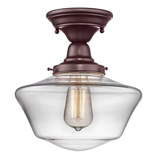 Design Classics Lighting 10-Inch Clear Glass Schoolhouse Semi-Flushmount Light in Bronze Finish FBS-220 / GA10-CL