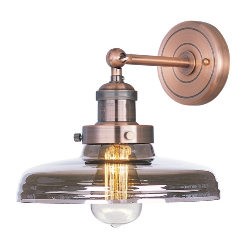 Maxim Lighting Sconce Wall Light with Clear Glass in Antique Copper Finish 25067MSKACP/BUI