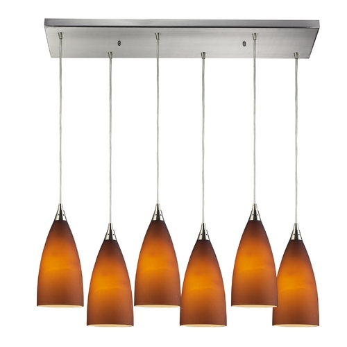 Elk Lighting Modern Multi-Light Pendant Light with Amber Glass and 6-Lights 2582/6RC