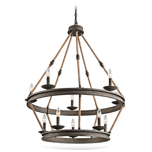Kichler Lighting Kichler Kearn 2-Tier 10-Light Chandelier in Olde Bronze 43424OZ