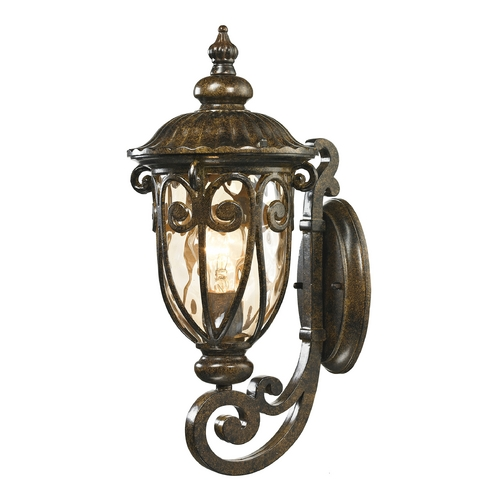 Elk Lighting Outdoor Wall Light with Beige / Cream Glass in Hazelnut Bronze Finish 45070/1