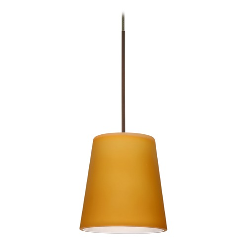 Besa Lighting Besa Lighting Canto Bronze LED Mini-Pendant Light with Conical Shade 1XT-513180-LED-BR