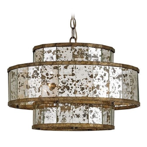 Currey and Company Lighting Currey and Company Lighting Fantine Pyrite Bronze / Raj Mirror Pendant Light with Drum Shade 9759
