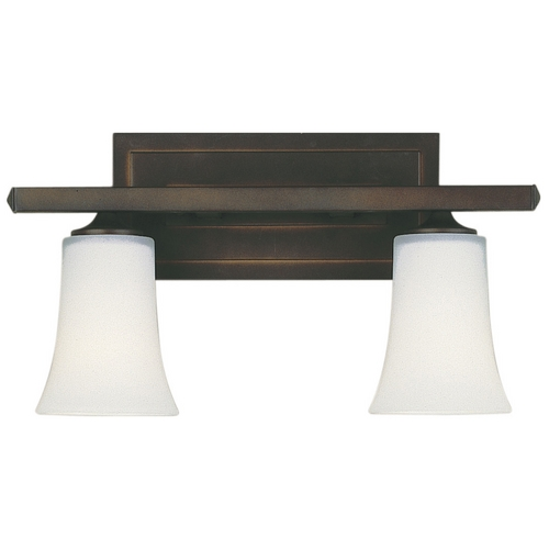Feiss Lighting Modern Bathroom Light with White Glass in Oil Rubbed Bronze Finish VS8702-ORB
