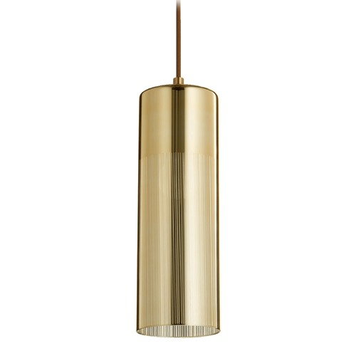 Quorum Lighting Quorum Lighting Aged Brass Mini-Pendant Light with Cylindrical Shade 838-0280