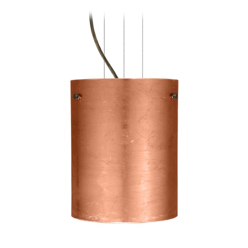 Besa Lighting Besa Lighting Tamburo Bronze LED Mini-Pendant Light with Cylindrical Shade 1KG-4006CF-LED-BR