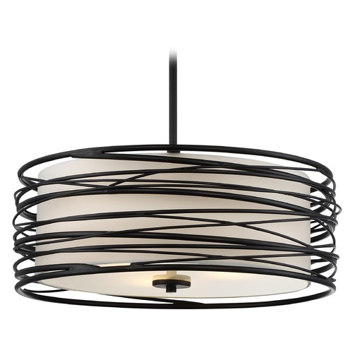 Quoizel Lighting Quoizel Lighting Spiral Mystic Black Pendant Light with Drum Shade SPL2820K