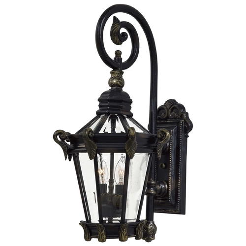 Minka Lavery Outdoor Wall Light with Clear Glass in Heritage W/gold Highlights Finish 8931-95