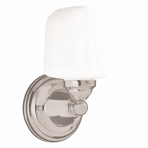 Hudson Valley Lighting Sconce with White Glass in Satin Nickel Finish 221-SN