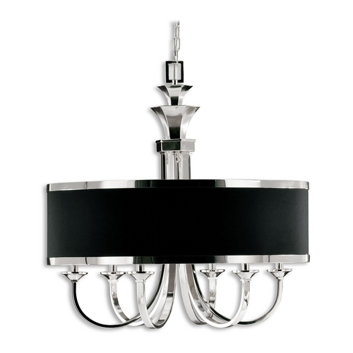 Uttermost Lighting Modern Chandelier with Black Shade in Silver Plated Finish 21130