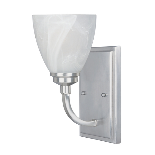 Designers Fountain Lighting Sconce Wall Light with Alabaster Glass in Satin Platinum Finish 82901-SP