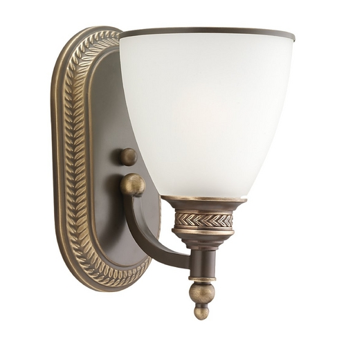 Sea Gull Lighting Sconce Wall Light with White Glass in Estate Bronze Finish 41350-708