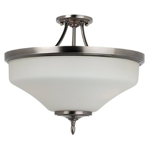 Sea Gull Lighting Semi-Flushmount Light with White Glass in Antique Brushed Nickel Finish 77180BLE-965