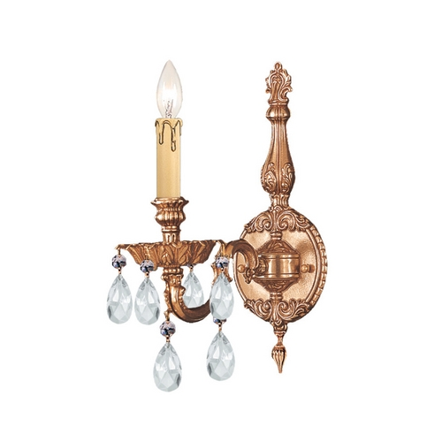 Crystorama Lighting Crystal Sconce Wall Light in Olde Brass Finish 2501-OB-CL-SAQ