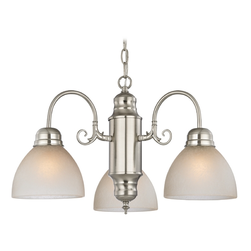 Design Classics Lighting Mini-Chandelier with Caramel Glass in Satin Nickel Finish 708-09 GL1033-CAR