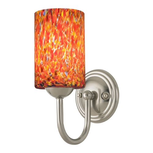 Design Classics Lighting Sconce with Art Glass in Satin Nickel Finish 593-09 GL1012C