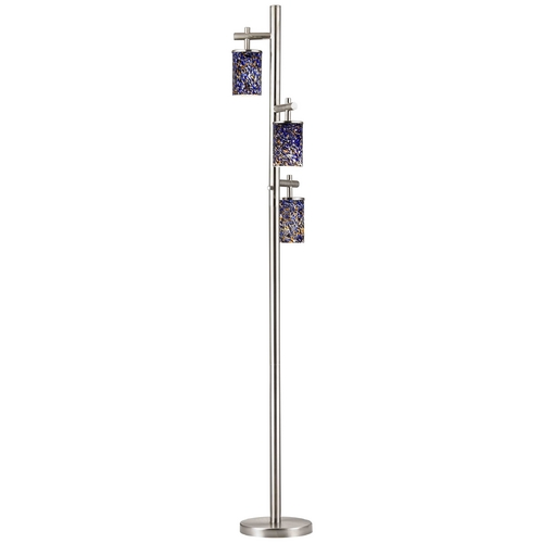Design Classics Lighting Satin Nickel SODO Floor Lamp with Blue Odyssey Cylindrical Shade 1118-1-09/ GL1009C