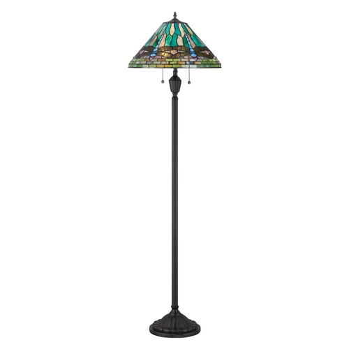 Quoizel Lighting Floor Lamp with Multi-Color Glass in Vintage Bronze Finish TF1508FVB